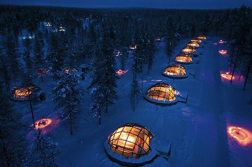 glass igloos   kakslauttanen, finland
